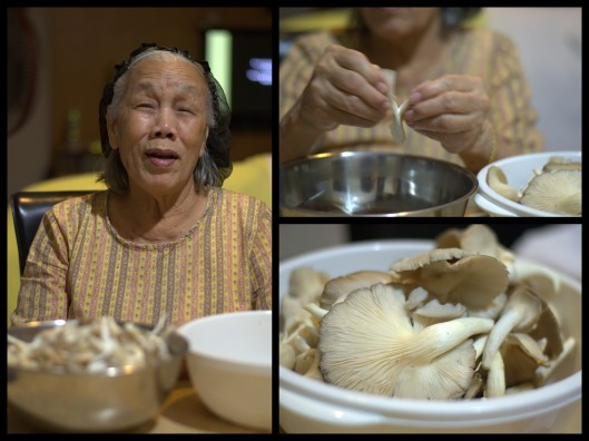 grandma prepping mushrooms